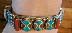 925-Sterling-Silver-Turquoise-Coral-37-gram-Western-BOHO-BOLD-7-034-Bracelet-58
