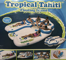 NEW HUGE 7-Person Tropical Tahiti Floating Island Inflatable Pool Float & Cooler