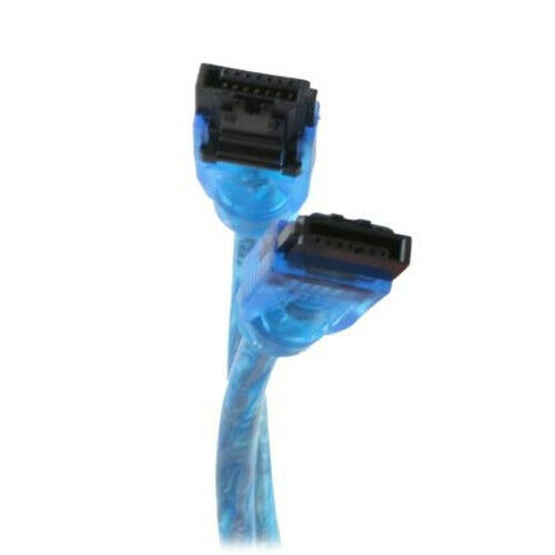 "18/"" SATA 3 III II 6 Gb//s SSD//HDD Data Round Cable UV Blue Straight to Straight"