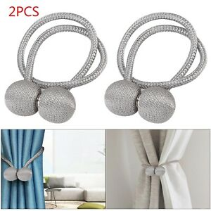 2-Silver-Magnetic-Ball-Curtain-Tiebacks-Tie-Backs-Buckle-Clips-Holdbacks-UK