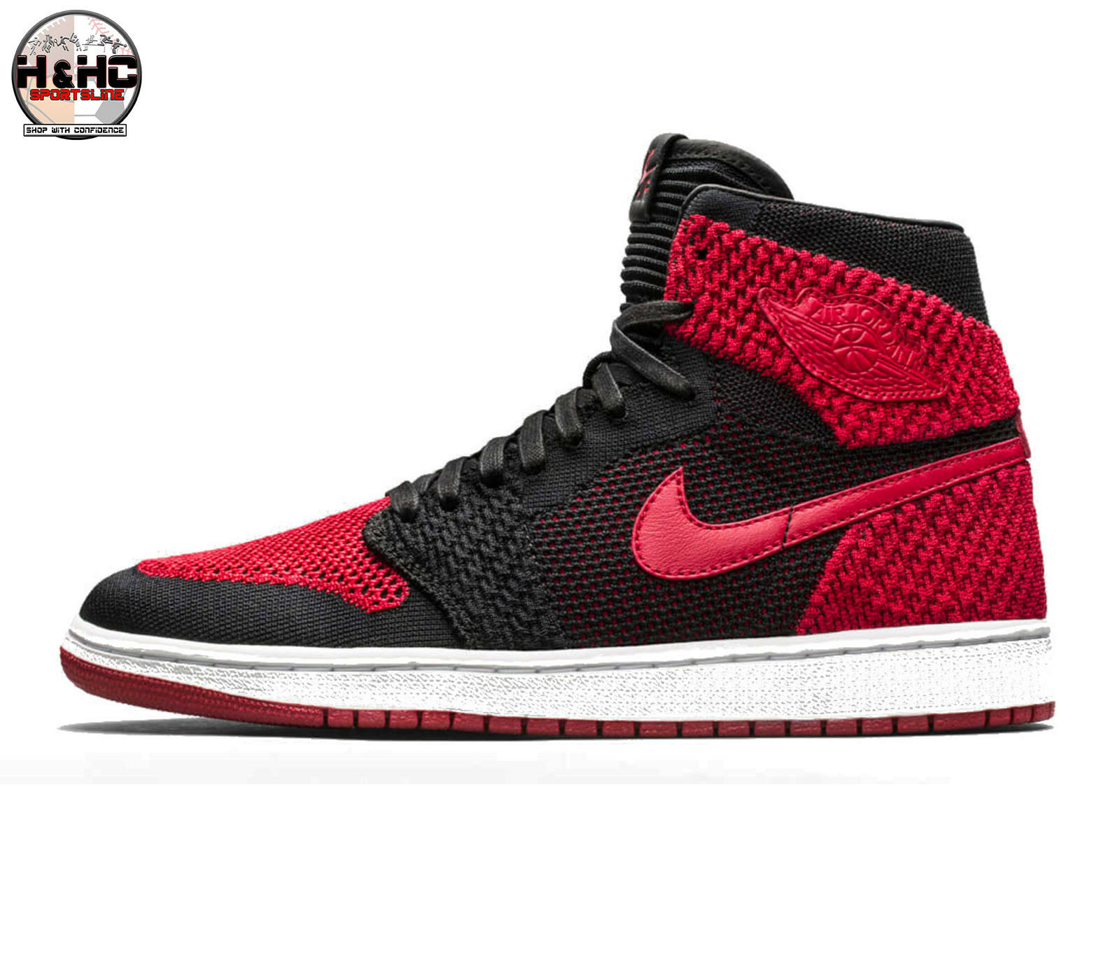 Nike Air Jordan1 Retro Hi Flyknit 919704 001 Black/Varsity Red Men's Shoes Sz 10