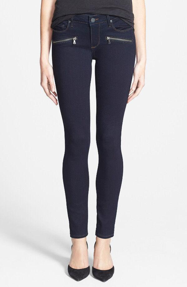 NWT PAIGE PREMIUM DENIM Indio Zip Ultra Skinny Jeans Size 30 Macer Dark Mid-rise