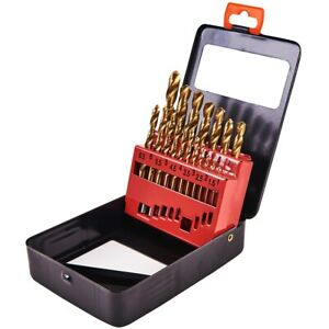 19pc-HSS-HSS-Set-Punte-Trapano-Rivestito-Titanio-NUOVO-1mm-10mm-nel-caso