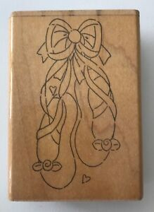 Ballet-Toe-Shoes-Rubber-Stamp-by-JRL-Design-3-25-x-1-75-Wood-Mounted
