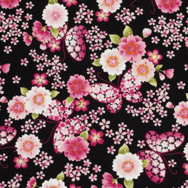 FQ JAPANESE BUTTERFLY & ORIENTAL SAKURA FLOWER Cotton Fabric Dress Quilting VK54