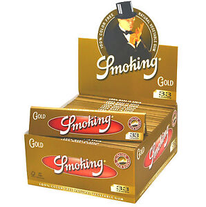 1 Box Smoking GOLD King Size Papers 50 Heftchen x 33 Blättchen Long Papers