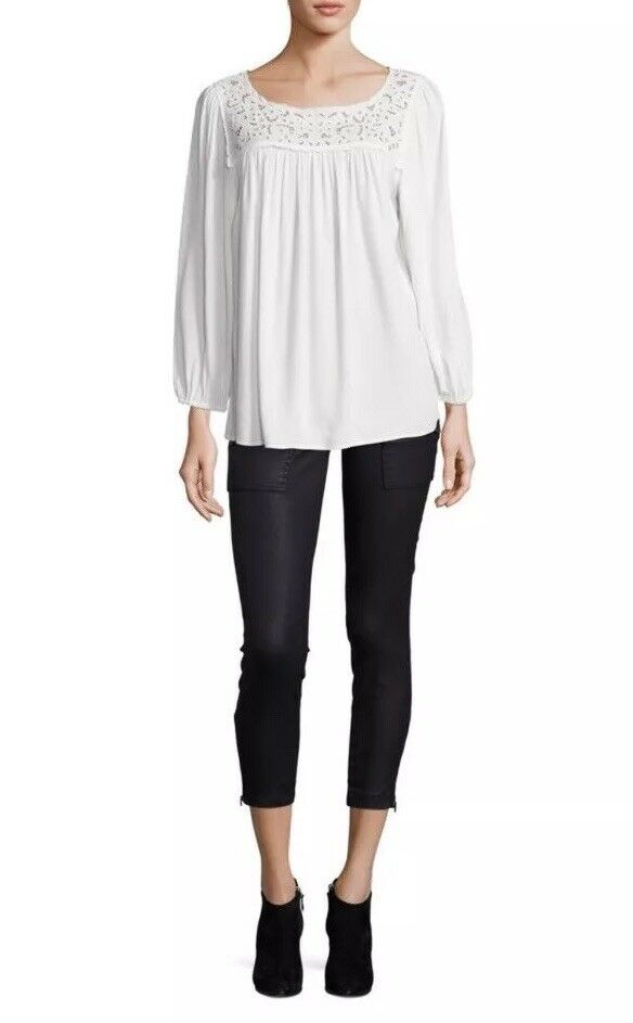 NWT Joie Sagrada Embroiderot-Yoke Top, Weiß Größe Small
