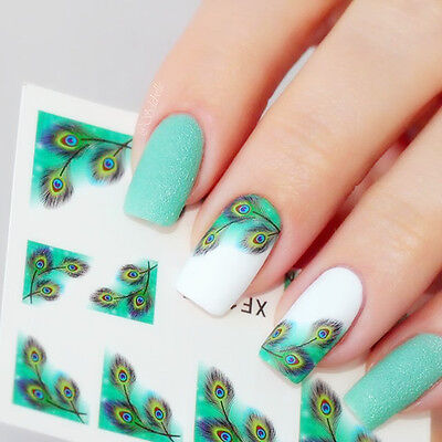 Nail Art Water Decals Transfers Stickers Fancy Feather Eyes Manicure Decoration