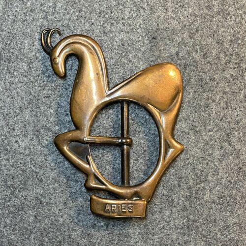 Bronze Art Nouveau Style Aries Belt Buckle from El