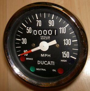 1970-039-s-Ducati-NOS-150MPH-Veglia-speedometer-1610-revs-1-mile-w-4-lights-NICE