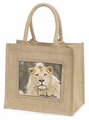 Weißer Löwe' liebe Dich Papa 'Große natürliche jute-einkaufstasche Weihnachten,