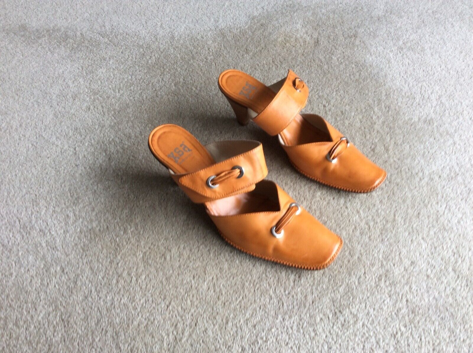 Women's, XSA, Italian, orange all leather, cross strap, medium heel, mules (6.5)