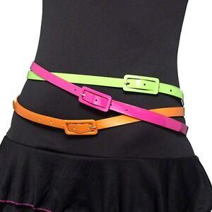70s-80s-Smiffys-Ladies-Pack-of-3-Neon-Fancy-Dress-Belts-Belt-New-by-Smiffys