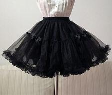 Lolita Gothic Lace Bowknot four layer yarn tutu bottoming Bustle Petticoat Skirt