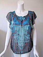 One World Blue Orange Hobo Prints Tie Neck Sheer Polyester Top Blouse L (10/12)