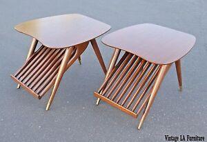 Pair-Vintage-Mid-Century-Modern-Magazine-Rack-End-Tables-Risom-Umanoff-Eames-Era