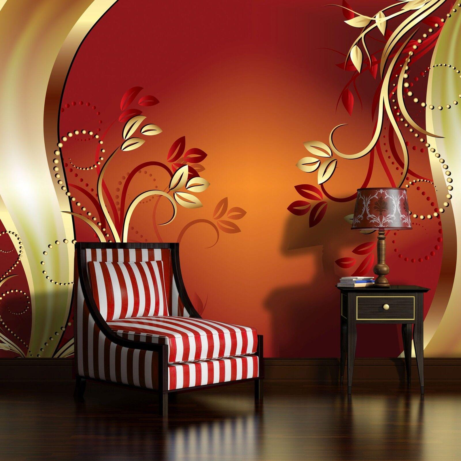 VLIES Poster  Fototapete Tapete Poster orange red ORNAMENT KUNST  3FX2136VE