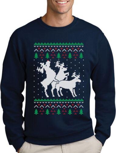 Funny Ugly Christmas Sweater Party Humping Reindeer Sweatshirt Gift