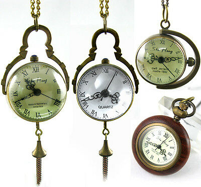 Antique Quartz Mechanical Ball Style Pocket Watch Necklace Pendant Steampunk