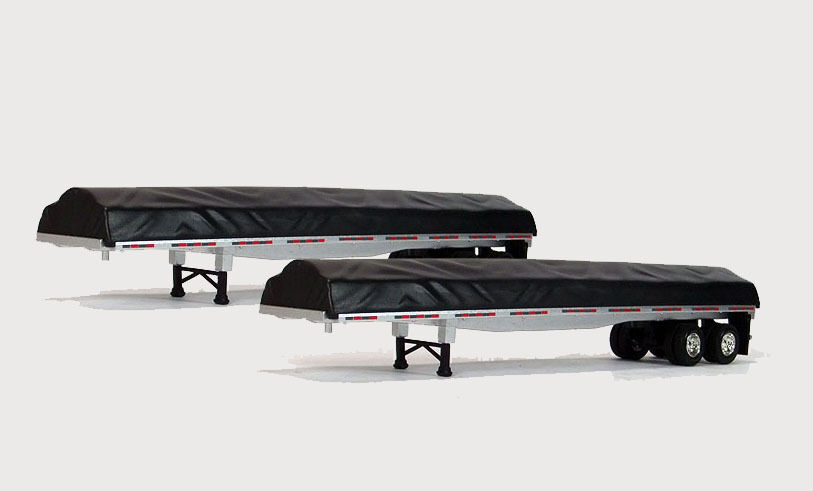 Tonkin Flatbed Trailers with Low Tarped Loads 1 64 Pair 12-I022-PAIR NEW