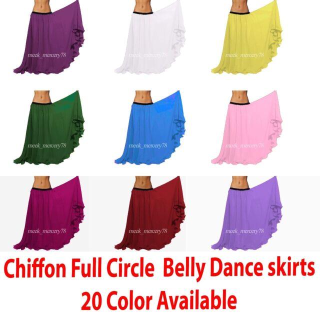Black Chiffon Flamenco Skirt Belly Dance Tribal Gypsy Tiered Ruffle Jupe ATS