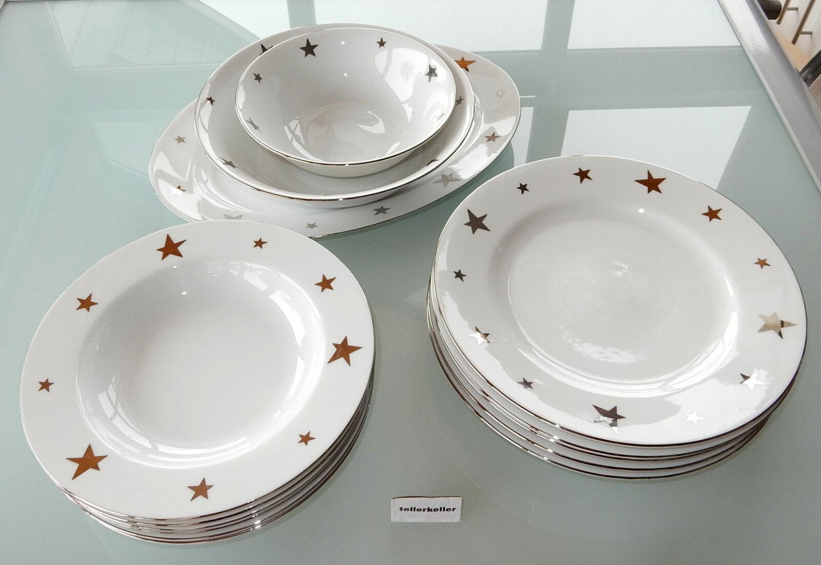 Ikea Weißnachten Sterne Silber Speiseservice 6 Pers. 15 tlg Speise Suppen Teller