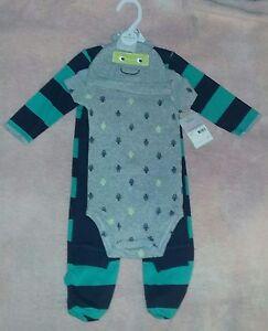 ca594e4ed NEW Carter s 9 Month Baby Boy Sleeper+Bodysuit+Pant+Hat 4-Piece Set ...