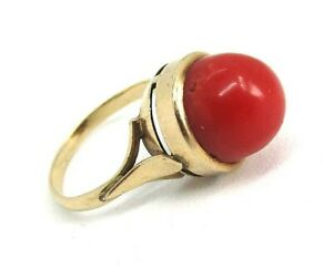 14K-Yellow-Gold-and-Red-Coral-Ring-3-4-grams-size-4-1-4-lot-33m1