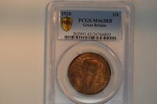 1920 Great Britain- One Penny- Pcgs Ms-63 Rb. Lovely!