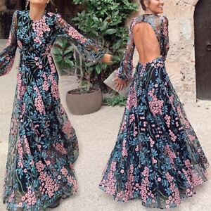 Damen Mesh Blumen Partykleid Abendkleid Maxikleid Lange ...