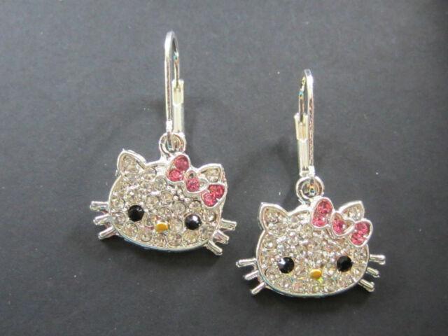 Hello Kitty Silver Rhodium Pink Bow Swarovski Crystal Dangling Dangle Earrings