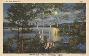 Dawson-Minnesota-Moonlight-Reflects-in-Lac-Qui-Parle-River-1934-Linen-Postcard