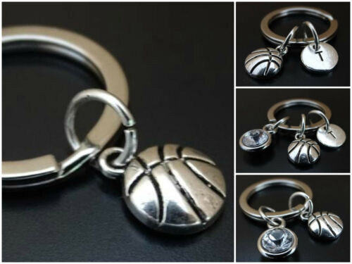 Basketball Keychain Initial Birthstone Charm Personalized Team Coach Gift Silver