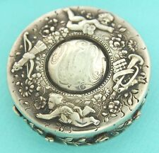 ANTIQUE TIFFANY & CO Cherub Arrow Trumpet Silver Trinket Pill Box (1902-1907)