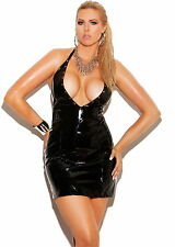 Vinyl Mini Dress 1X XL Plunge Neck Halter Black Shiny PVC Wet Look Sexy Bodycon
