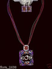 Parure, Collier, Boucle d'oreille cordon multicolore métal peint bijou fantaisie