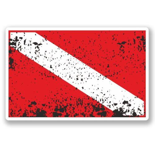 2 X Bandera De Buceo Pegatina de vinilo Laptop Viaje Equipaje Coche #5422