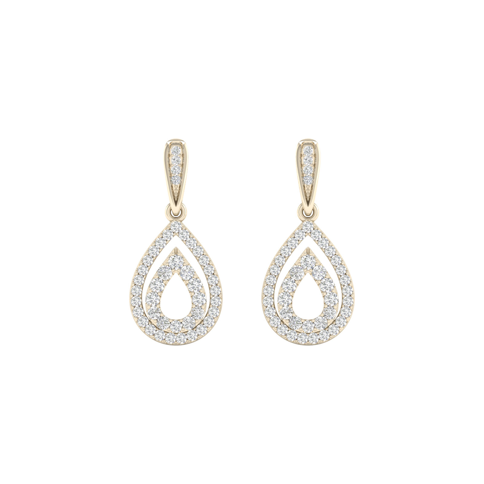 10k Yellow gold 1 3ct TDW Diamond Drop Dangle Earrings