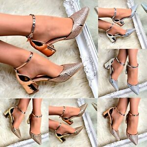 Ladies-Diamante-Pointed-Block-Heel-Shoes-Low-Heel-Ankle-Strap-Sandal-Pointy-Size