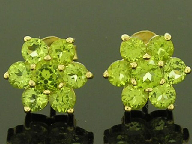 E059 - Genuine 9ct Solid Gold NATURAL Peridot Blossom Cluster Stud Earrings