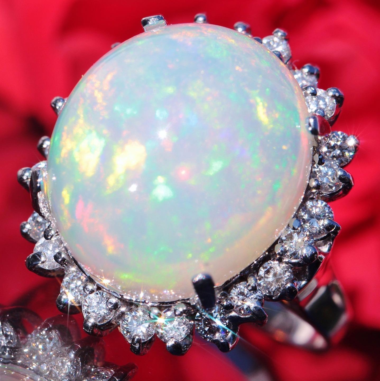14k white gold ring 14.23ct crystal opal diamond size 8 vintage handmade 9.3gr