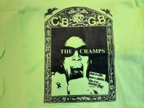 The Cramps CBGB T Shirt Sz Medium,Lime Green