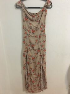 Forever-21-Women-s-Maxi-Dress-Size-S-Beige-With-Floral-Print-No-Tags