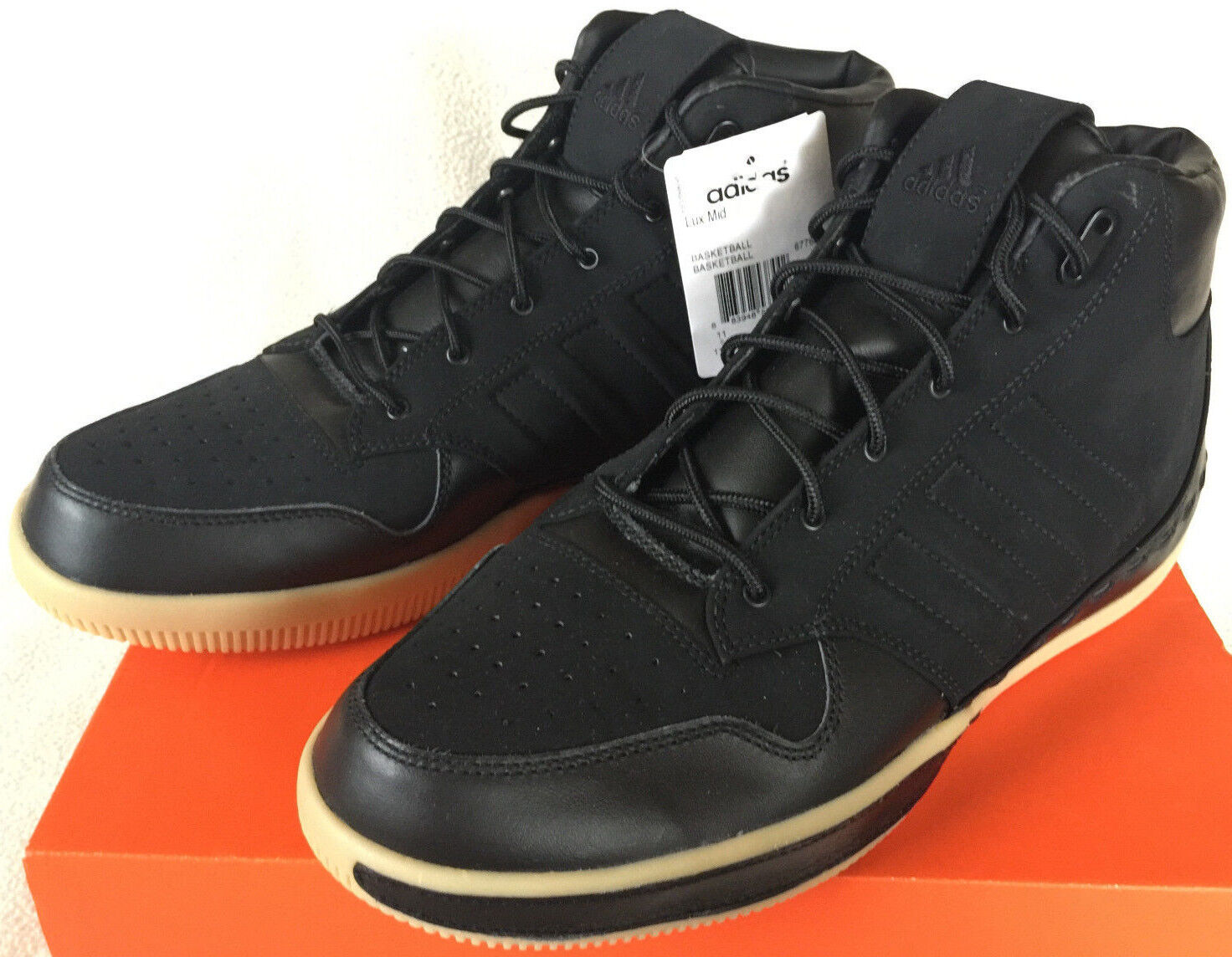 Adidas Lux Mid 677620 Luxury Gum Noir Leather Basketball Shoes Men's 9 NBA new