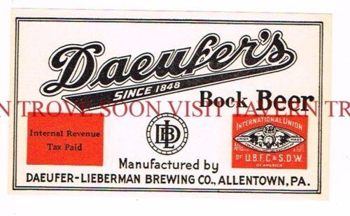 1930s Daeufer/'s BOCK Beer Label Tavern Trove Allentown Pennsylvania