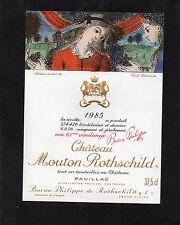 PAUILLAC 1ER GCC ETIQUETTE CHATEAU MOUTON ROTHSCHILD 1985 37.5 CL      §01/10§
