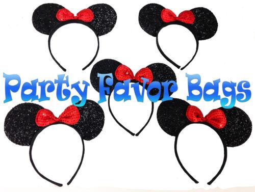 24 pcs Mickey Minnie Mouse Ears Headbands Black Red Shiny Party Favors Birthday