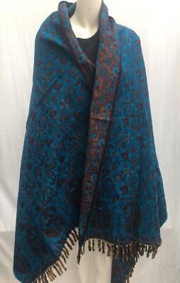 UNISEX Yak Wool Shawl,WRAP,Ethical Hand loomed Reversable BLUE COLOUR SCARF