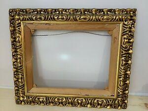 VINTAGE-GOLD-GILDED-PAINTING-FRAME-AND-STRETCHER-25-034-W-X-21-034-H-CZECHOSLAVAKIA