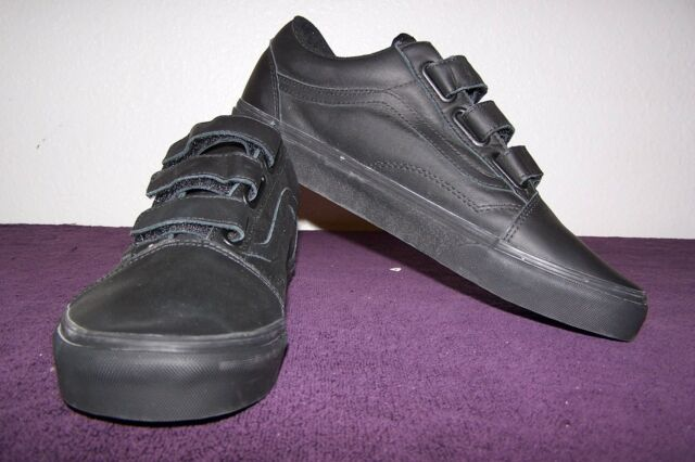 VANS Old Skool V Mono Leather Black Men s 12 Skate Shoes Skateboard ... a2bbb859bb
